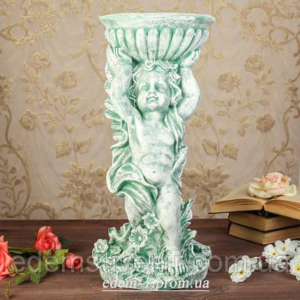 Підставка для квітів Ангел з чашею зелений камінь, фото 2