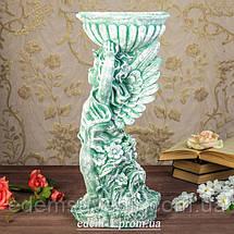 Подставка для цветов Ангел с чашей зеленый камень, фото 2