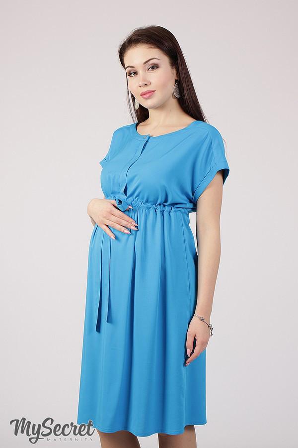 Платье для беременных и кормящих ROSSA DR-28.092, из стрейчевого штапеля,  бирюзовое  16559d2fe59