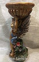 Подставка для цветов Ангел с чашей цветная бронза, фото 2