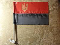 Флаг УПА нейлон с тризубом 37х24см | Прапор УПА нейлон з тризубом 37х24см