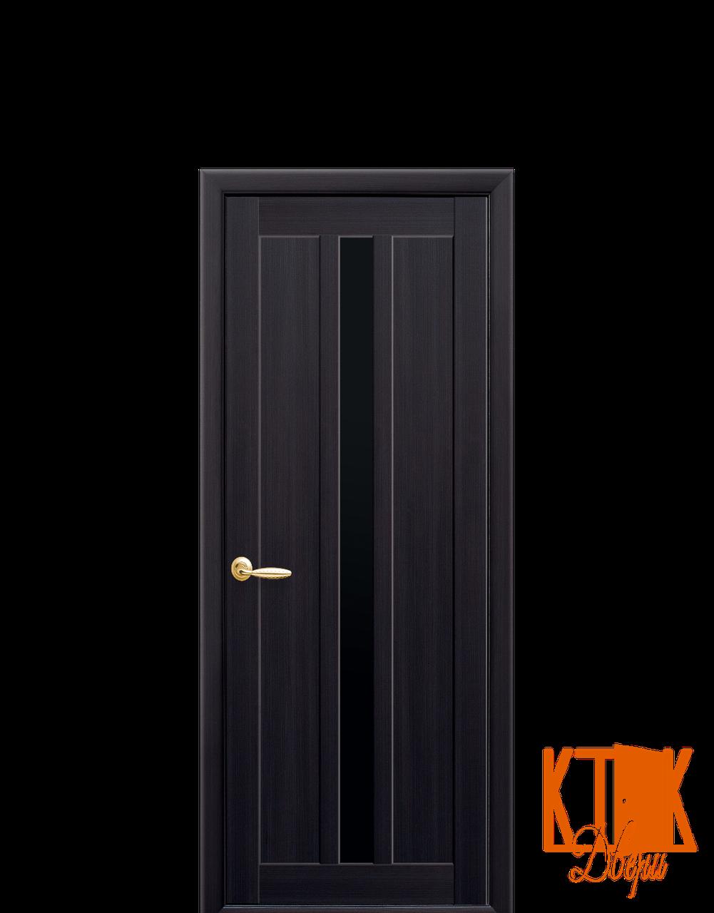 Міжкімнатні двері Новий Стиль Марті чорне скло (венге)
