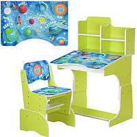 Детская парта регулируемая высота(4полож),со стульчиком(3полож. высоты), столешница 70-47см, космос, салатовая