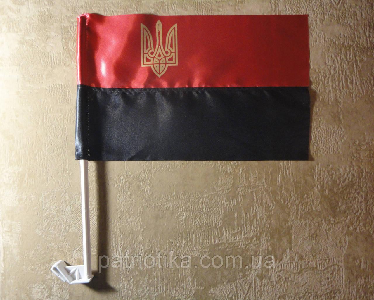 Прапор УПА атлас з тризубом 37х24см   Прапор УПА атлас з тризубом 37х24см