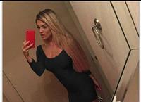 Красивое облегающее женское платье, длинный рукав, декольте черное, фото 1