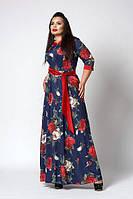 Длинное темно-синее платье в пол с цветами и поясом