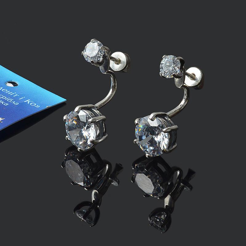 Серебряные серьги 2 в 1 с фианитами