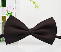 Детская однотонная полиэстровая галстук бабочка №2 коричневая