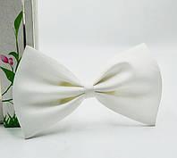 Детская однотонная полиэстровая галстук бабочка №3 белая