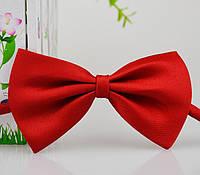 Детская однотонная полиэстровая галстук бабочка №4 красная