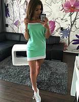 Платье спущенные плечи лето, комбинированные цвета