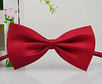 Детская однотонная полиэстровая галстук бабочка №5 бордовая