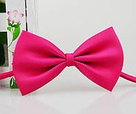 Детская однотонная полиэстровая галстук бабочка №6 малиновая