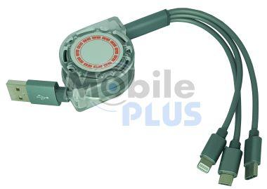 Дата кабель универсальный для зарядки iPhone, micro-USB, Type-C на катушке Grey