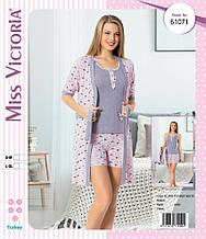 Пижама с халатом Miss Victoria 61071
