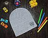 Демисезонная шапка для мальчика с эмблемой Польша светло-серый