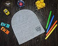 Демисезонная шапка для мальчика с эмблемой Польша светло-серый, фото 1