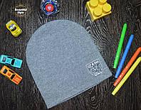 Демисезонная шапка для мальчика с эмблемой Польша темно-серый, фото 1