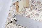 """Постель в детскую кроватку """"Серо-бежевые совы с кофейными бантами"""" № 264, фото 3"""