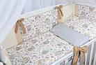 """Постель в детскую кроватку """"Серо-бежевые совы с кофейными бантами"""" № 264, фото 2"""