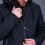 Чоловіча демісезонна куртка, чорного кольору, фото 5