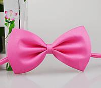 Детская однотонная полиэстровая галстук бабочка №7 розовая
