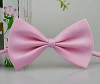 Детская однотонная полиэстровая галстук бабочка №8 нежно розовая