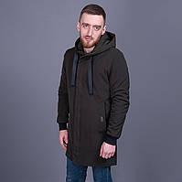 Мужская удлиненная демисезонная куртка. Цвет зеленый