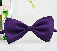 Детская однотонная полиэстровая галстук бабочка №12 фиолетовая