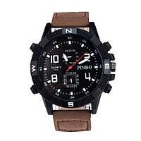 Мужские часы PINBO черный с коричневым ремешком