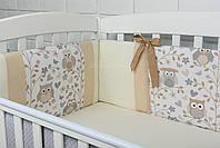 Защита в детскую кроватку ASIK Совы серо-бежевые с коричневыми бантиками (1-264)