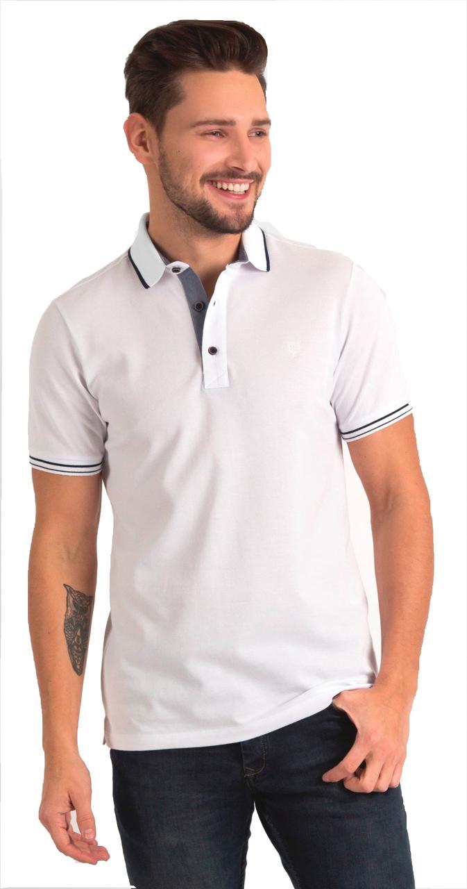 Белая футболка POLO 1801-1 разм 48