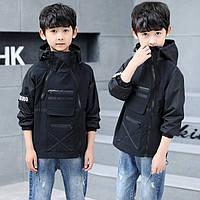 Стильная черная куртка для мальчика, фото 1