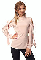 Женская блуза пудрового цвета с открытыми плечами. Модель 414