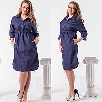 Женское платье в горошек джинс ботал