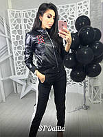 Женская кожаная куртка ветровка с довязами tez160188