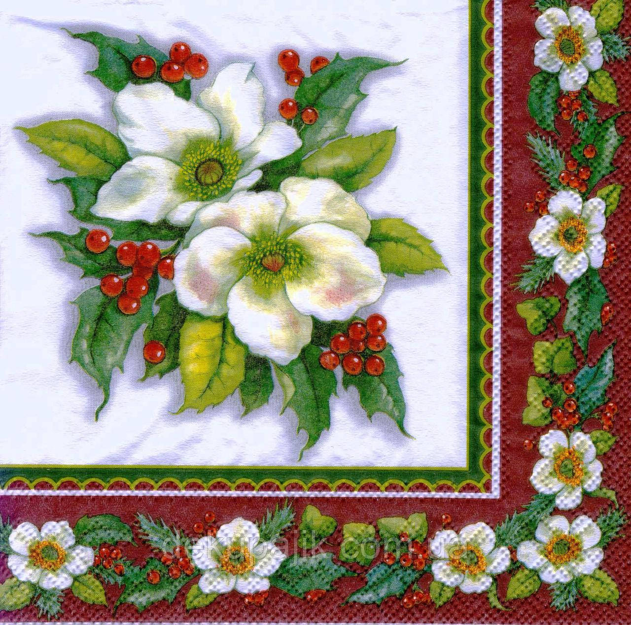 Салфетка декупажная Белые цветы 7363
