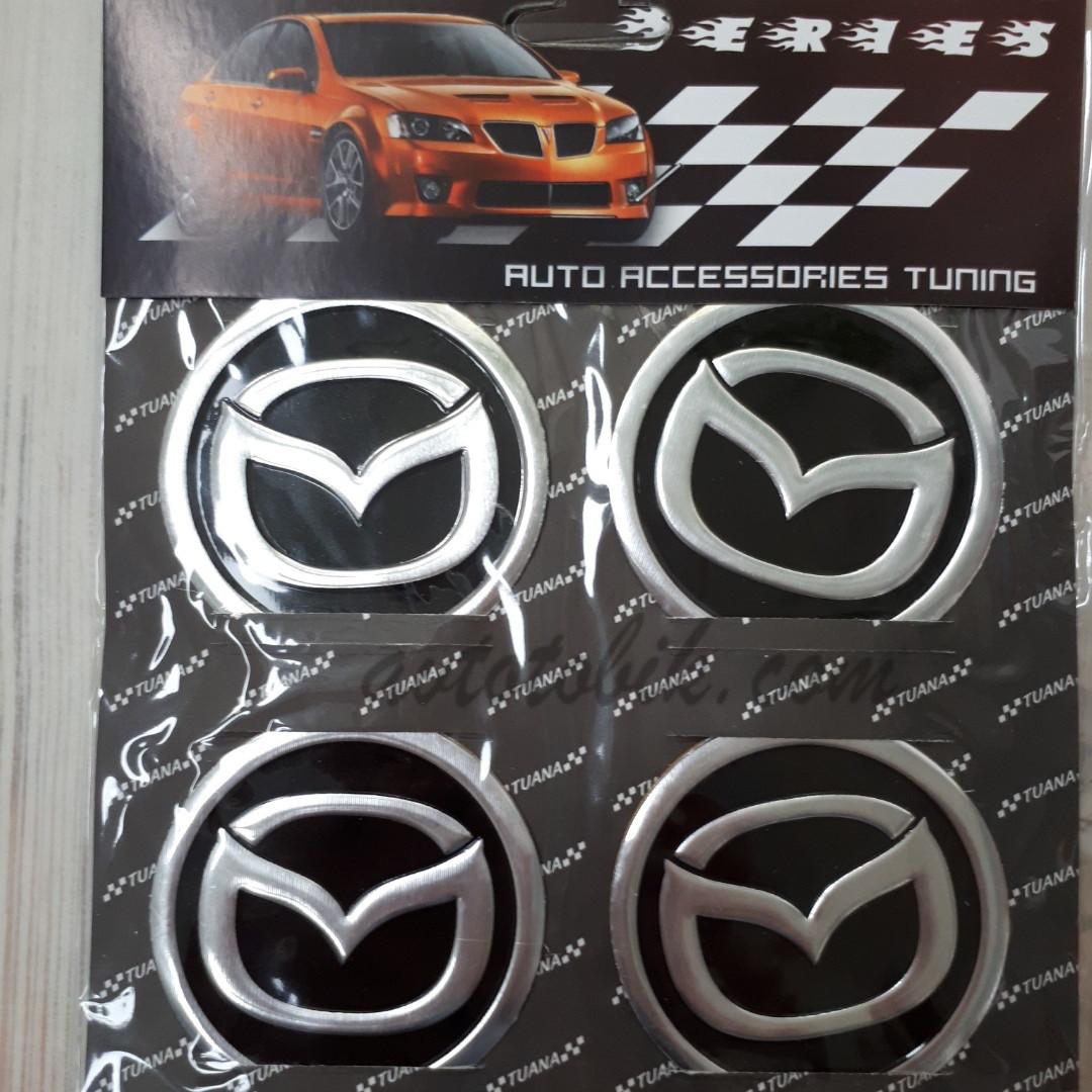 Наклейка эмблема на колпаки Mazda 60 мм (4 шт.)