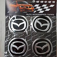 Наклейка эмблема на колпаки Mazda 60 мм (4 шт.), фото 1