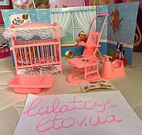 Мебель для кукол Глория Gloria 9409 Детская комната для малыша Барби кроватка, коляска, ванночка