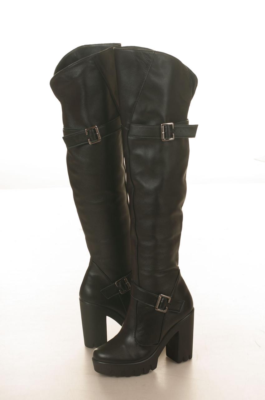Сапоги-ботфорды на высоком каблуке, из натуральной кожи, на молнии. Два цвета! Размеры 36-41 модель S2849