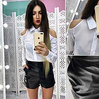 Женский костюм рубашка и шорты из экокожи tez6610436, фото 1
