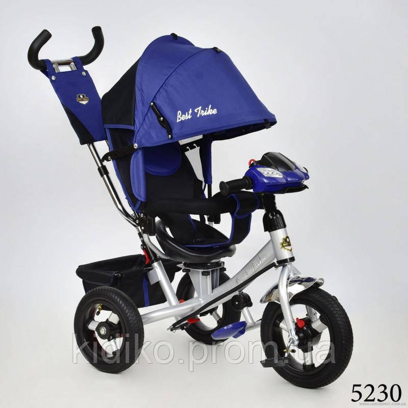 Велосипед трехколесный с родительской ручкой фарой Best Trike 7700 В