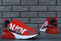 Мужские кроссовки в стиле NIKE Air Max 270 Supreme  красные, фото 1