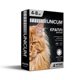 Капли UNICUM premium от блох и клещей для кошек весом 4-8 кг