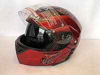 Шлем Красно чёрный трансформер FGN с очками