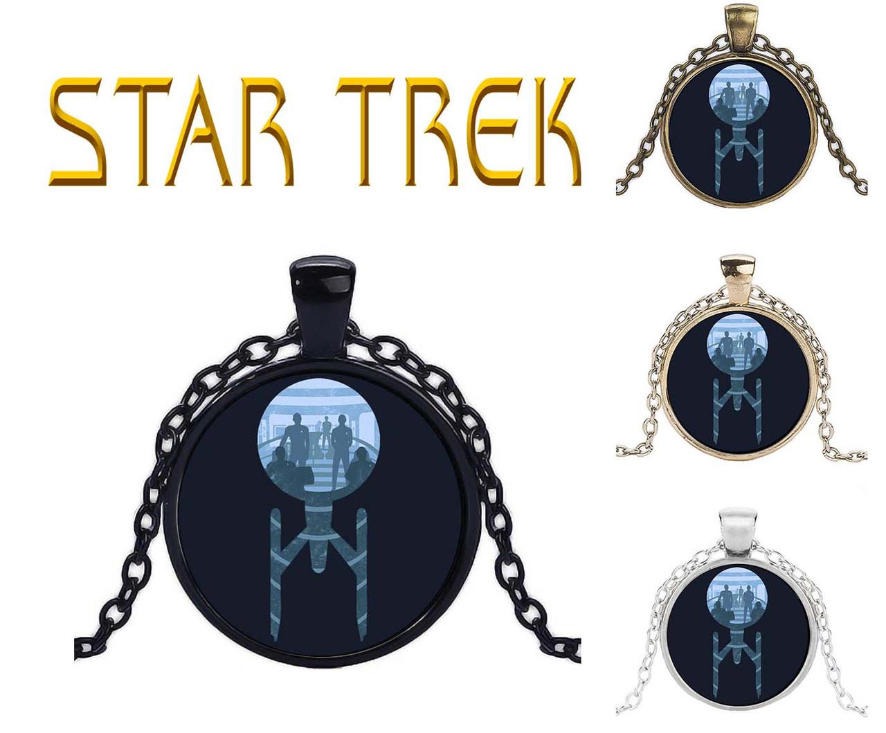 Кулон Star Trek Звездный Путь звездолет с командой