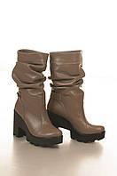 Сапоги низкие на высоком каблуке, из натуральной кожи, без застежки. Два цвета! Размеры 36-41 модель S2751, фото 1