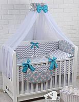 Комплект постельного белья Asik Сердечки бело-бирюзовые на сером 8 предметов (8-226)