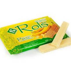 """Вафлі """"Rols"""" з банановим смаком 100 гр"""